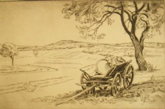 Aage Roose pencil signed Landscape